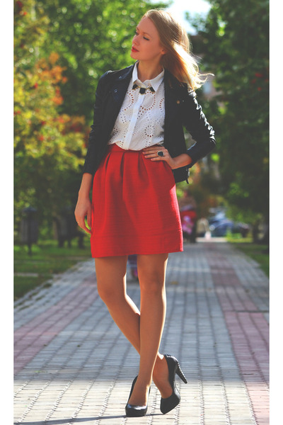ruby red handmade skirt - black Topshop jacket - white Romwecom shirt