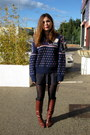 Brown-topshop-boots-navy-vintage-jumper