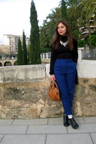 black Topshop cardigan - blue Topshop pants - brown Marc by Marc Jacobs accessor