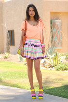 hot pink H & M skirt - yellow Rebecca Minkoff bag