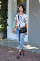 white Finders Keepers top - sky blue Level99 jeans - black Gucci bag