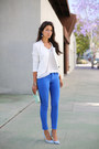 Blue-bebe-jeans-white-stylemint-jacket-aquamarine-club-monaco-bag