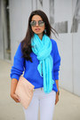 Blue-topshop-sweater-white-zara-jeans-turquoise-blue-donni-charm-scarf