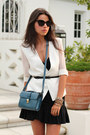 Teal-zara-bag-black-french-connection-dress-white-minusey-blazer