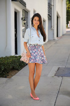 salmon Club Monaco skirt - periwinkle Club Monaco shirt