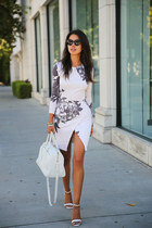 ivory Saint Laurent bag - neutral Nasty Gal dress - off white Zara heels
