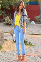 blue Zara blazer - black 31 Phillip Lim bag - yellow Billabong blouse