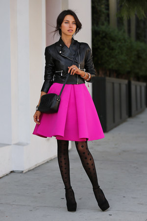 black HUE tights - black Gucci bag - hot pink cameo skirt