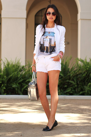 white Zara shorts - silver Reed Krakoff bag