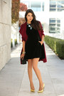 Black-armani-exchange-dress-maroon-banana-republic-coat-black-zara-bag