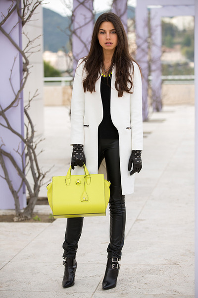 white Zara coat - black Barbara Bui boots - chartreuse Alexander Wang bag