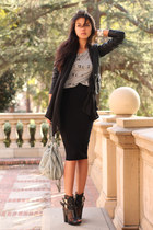 black Miista boots - black All Saints jacket - periwinkle Rebecca Minkoff bag