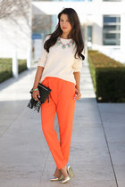 black jack germain bag - ivory J Crew sweater - coral cameo pants