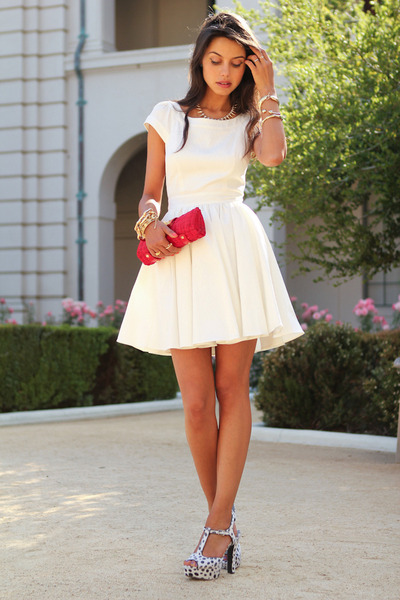 white Rachel Zoe dress - red J Crew bag - white Pink & Pepper heels