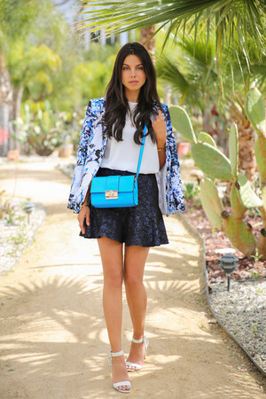 turquoise blue asos bag - blue Bebe blazer - white Zara top - navy asos skirt