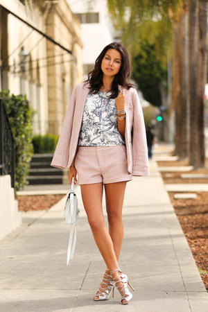 light pink Joie blazer - light pink Joie shorts - silver Schutz heels