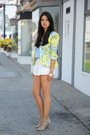 Light-yellow-rag-bone-blazer-white-cameo-shorts-periwinkle-zara-blouse