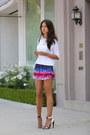 White-zara-sweater-blue-lovers-friends-shorts-white-lamb-heels