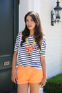 Orange-j-crew-shorts-white-zara-top-turquoise-blue-madewell-wedges