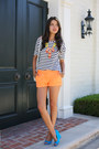 Orange-j-crew-shorts-turquoise-blue-madewell-wedges-white-zara-top
