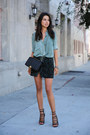 Black-armani-bag-turquoise-blue-ready-to-fish-blouse-teal-all-saints-skirt