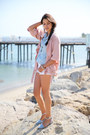 light pink Lovers  Friends jacket - periwinkle Club Monaco shirt