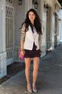 Light-pink-line-dot-blazer-magenta-rebecca-minkoff-bag