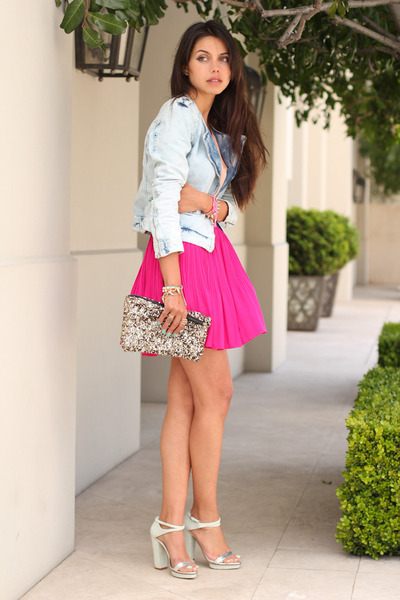 light blue Zara jacket - hot pink stylebymarinacom dress