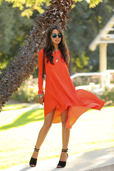 red BCBG dress - blue free people sunglasses - black Alexander Wang heels