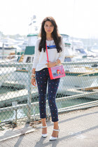 white Joie sweater - navy MINUSEY jeans - red Marc by Marc Jacobs bag