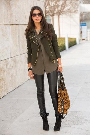 olive green Zara jacket - light orange Zara bag - brown J Crew sunglasses