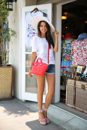 red Givenchy bag - navy 7 for all mankind shorts - white Equipment blouse