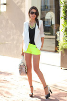 white MINUSEY blazer - yellow J Crew shorts - black Pink & Pepper heels