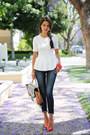 Navy-rich-skinny-jeans-white-bcbg-bag-white-torn-by-ronny-kobo-top