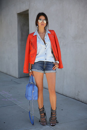 carrot orange Truth &amp; Pride jacket - periwinkle Alice  Olivia bag