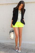 black Helmut Lang blazer - yellow JCrew shorts - white Zara heels
