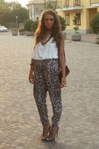 white H&M top - brown H&M pants - beige Zara shoes - brown H&M bracelet - silver