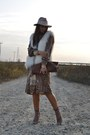 Dark-brown-mango-dress-eggshell-topshop-hat-brown-vintage-bag