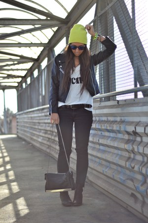 black H&amp;M boots - yellow H&amp;M hat - black biker jacket romwe jacket