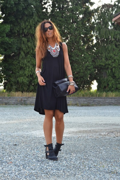 black asos boots - black H&M dress - black Zara bag - red H&M ring