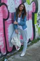 blue H&M shirt - white H&M top - silver Zara pants - beige lolita shoes - beige