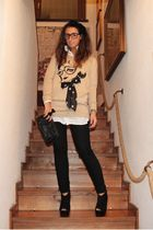 beige H&M sweater - black Zara pants - white Zara shirt - black asos boots - bla