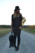 black River Island boots - black Zara hat - black REPLAY bag - black H&M pants