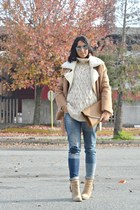 camel Forever 21 boots - sky blue Bershka jeans - brown OASAP jacket