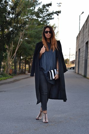 black Sheinside coat - charcoal gray H&amp;M jeans - white FRITLEX bag