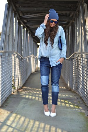 blue Zara jeans - blue Zara Kids hat - sky blue H&M Man shirt