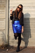 blue Zara skirt - black H&M boots - black Zara jacket - black Zara sweater