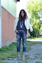 navy Zara jeans - silver no brand shoes - ivory Zara jacket - gray Zara t-shirt
