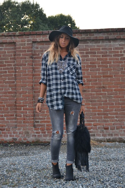 heather gray Zara jeans - black Cheap Monday boots - black H&amp;M hat