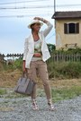 White-h-m-man-hat-cream-h-m-blazer-heather-gray-celine-bag